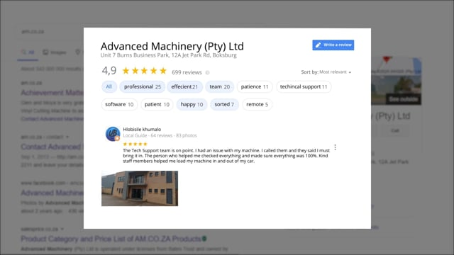Advanced Machinery Archived 4.9 Star Rating on Google Reviews at 2020, AM.CO.ZA Achievement Matters