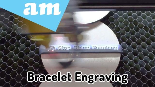 Stop Rhino Poaching Bracelet Band Engraved on 80W Desktop Laser Cutting and Engraving Machine