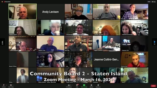 Community Board 2, Staten Island - March 16, 2021