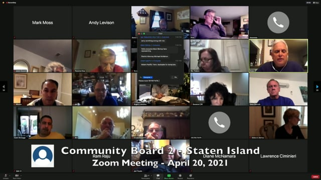 Community Board 2, Staten Island, NY - April 20, 2021