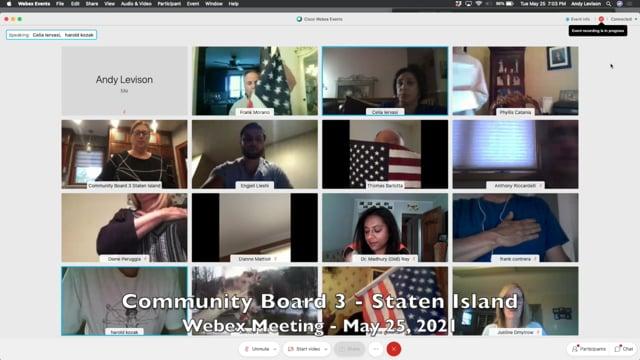 Community Board 3, Staten Island, NY - May 25, 2021