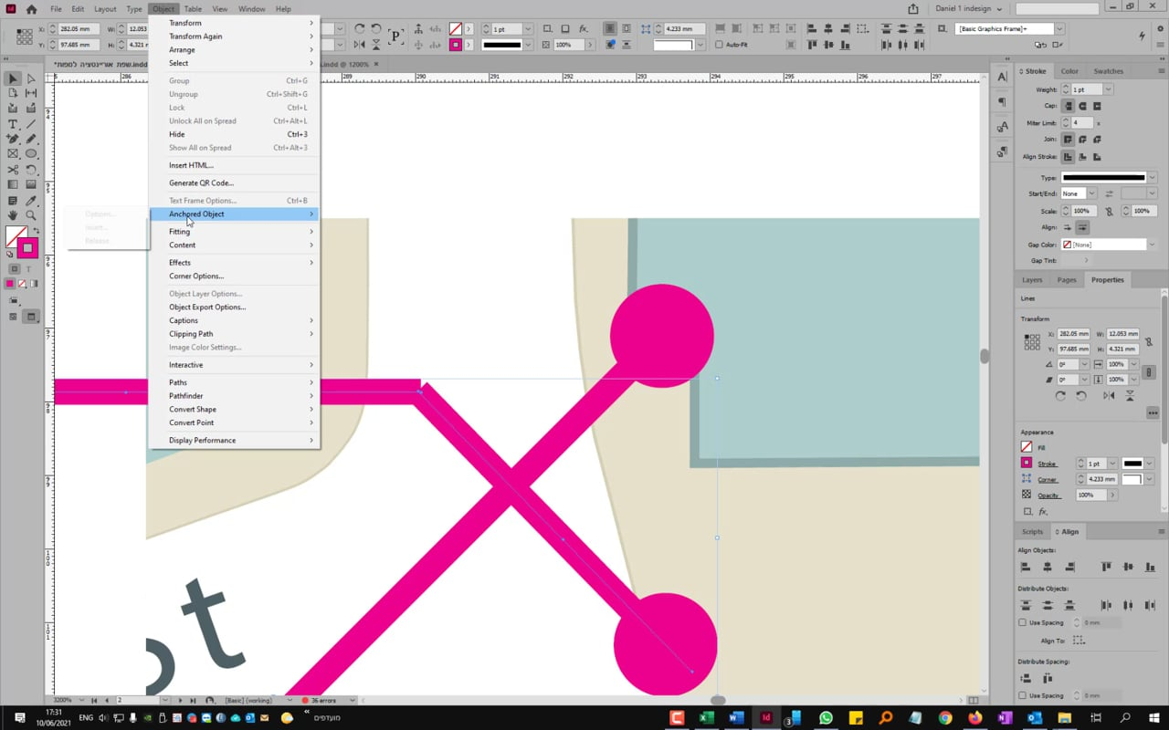 indesign connecto two points