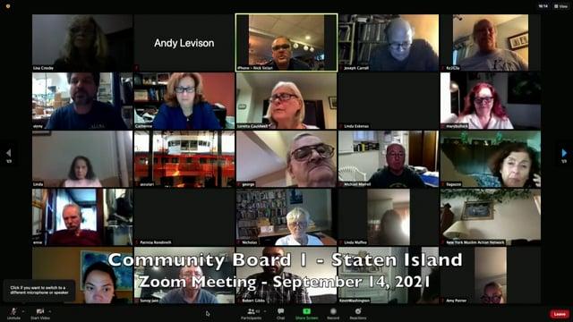 Community Board 1, Staten Island, NY - Sept 14, 2021