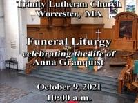 Service for Anna Granquist  10/9/2021 10:00AM.  Music @9:40