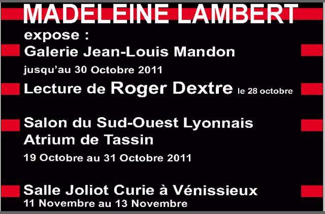 Madeleine Lambert expose en octobre et novembre