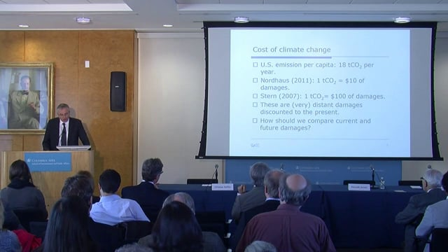 Christian Gollier explores the theory of risk-bearing, with an application to the welfare analysis of policies to reduce the risk of climate change.<br /> <br /> Christian Gollier <br /> Director<br /> Toulouse School of Economics<br /> University Toulouse<br /> <br /> Discussion by <br /> Bernard Salanié<br /> Professor of Economics<br /> Columbia University<br /> <br /> Joseph E. Stiglitz<br /> University Professor<br /> Columbia University<br /> <br /> Kenneth J. Arrow<br /> Joan Kenney Professor of Economics<br /> Professor of Operations Research, Emeritus <br /> Stanford University