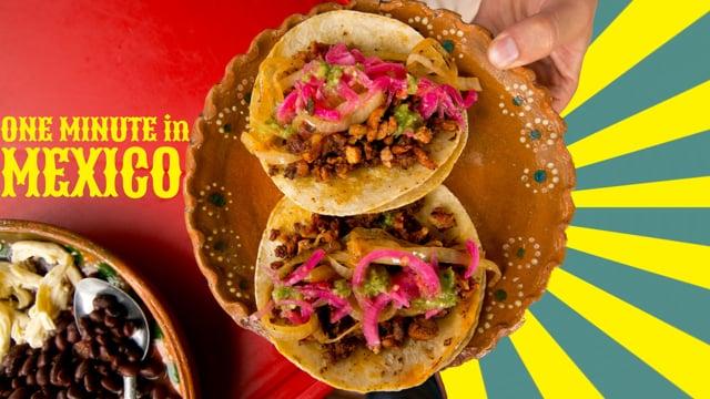 Eine Minute Essen in Mexiko