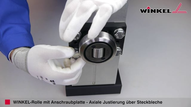 WINKEL Rolle mit Anschraubplatte Axiale Justierung über Steckbleche