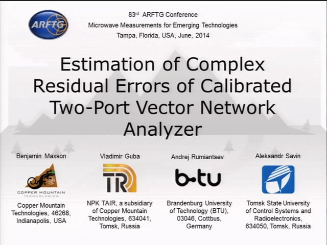 Estimation of Complex Residual Errors of Calibrated Two-Port Vector Network Analyzer [ARFTG83, Maxon]