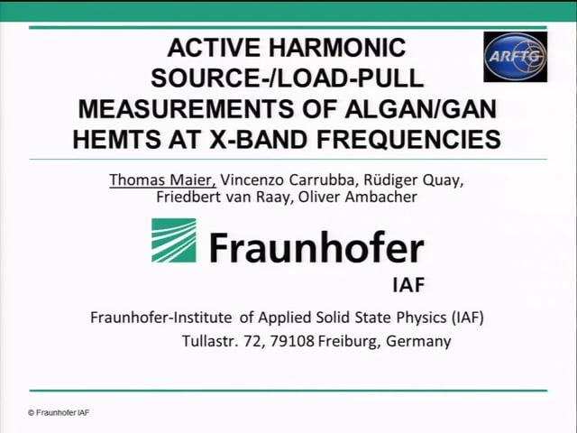 Active Harmonic Source/Load-Pull Masurements of AlGaN/Gan HEMTS at X-Band Frequencies [ARFTG84, Maier]