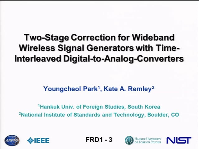 Two-Stage Correction for Wideband Wireless Signal Generators with Time-Interleaved Digital-to-Analog Converters[ARFTG83, Remley}