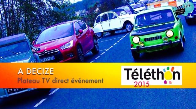 Decize fait sa télé au téléthon 2015 - Départ cyclos, motos et autos anciennes