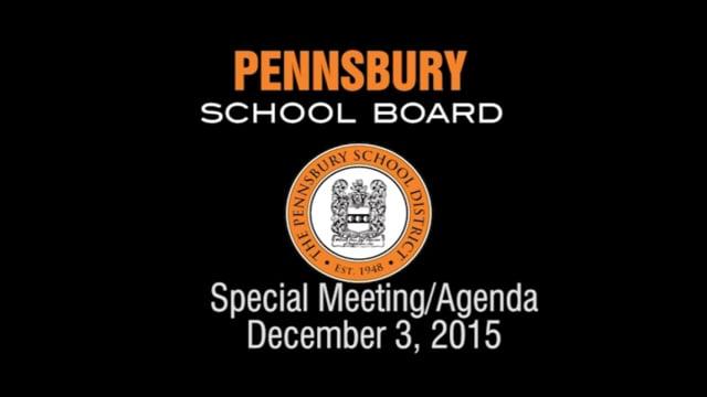 Pennsbury School Board Meeting for December 3, 2015 (Agenda Meeting)