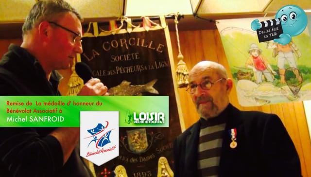 Decize fait sa télé à la remise de la médaille du bénévolat associatif à Michel Sanfroid lors de l' AG 2015 de la Corcill