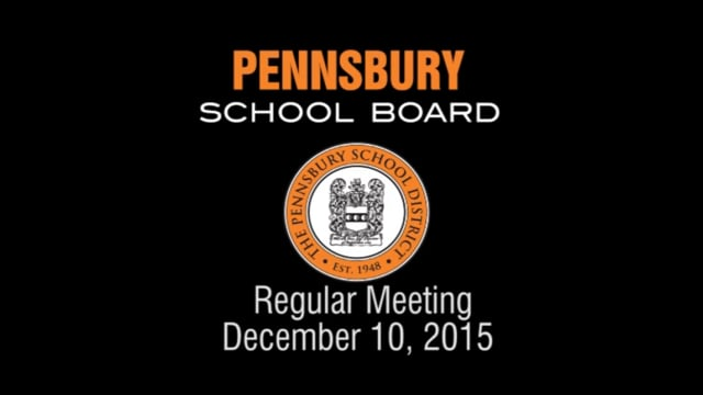 Pennsbury School Board Meeting for December 10, 2015