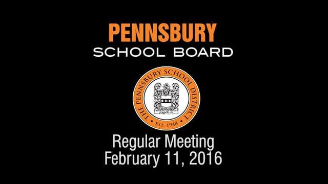 Pennsbury School Board Meeting For February 11, 2016