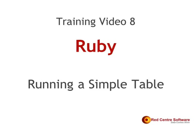 8. Running a Simple Table