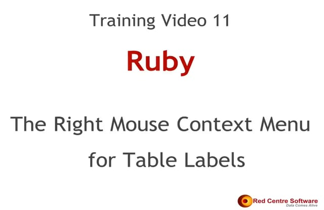11. The Right-mouse Menu for Table Labels