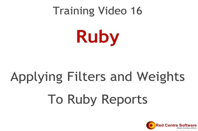 16. Applying Filters and Weights to Ruby Reports