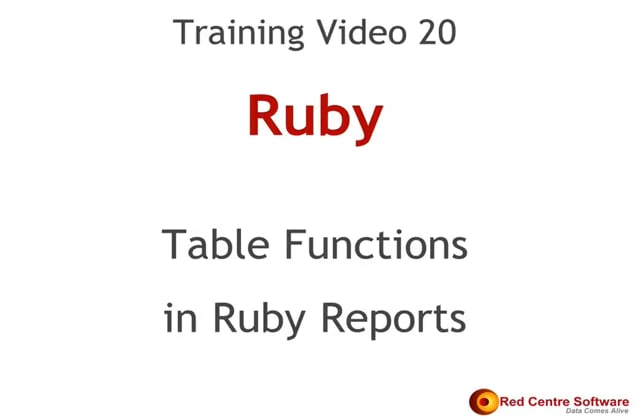 20. Table Functions in Ruby Reports