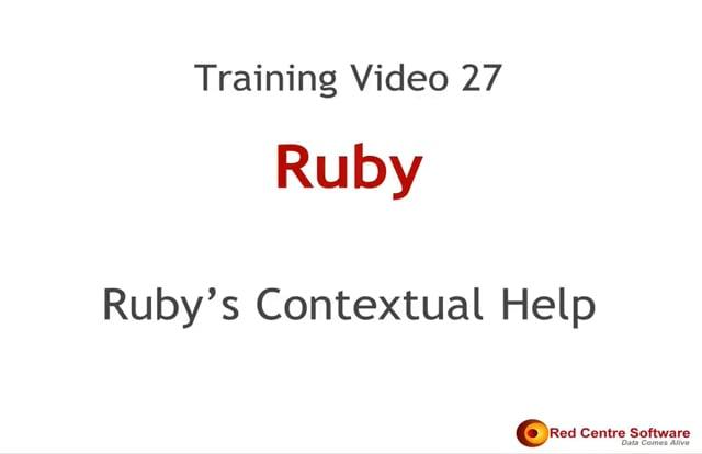27. Ruby's Contextual Help