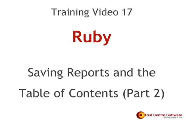 17. Saving Reports and Ruby's Table of Contents (Part2)
