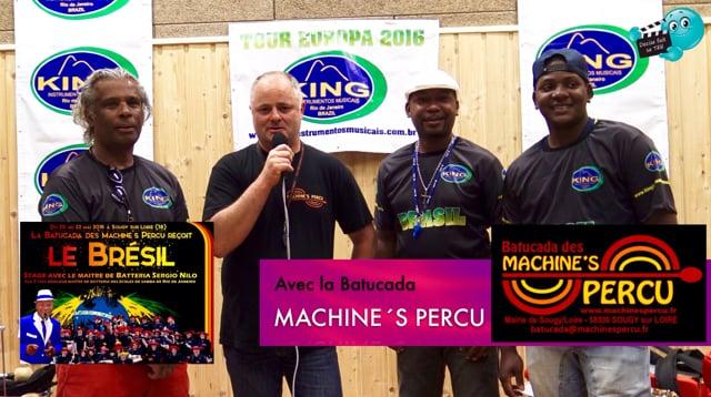 Decize fait sa télé à Sougy avec la Batucada des Machine's Percu, au stage avec le Maitre de Batteria Sergio NILO