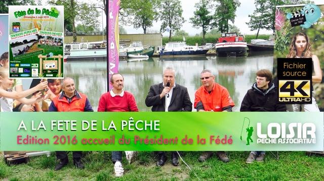 Decize fait sa télé à Nevers à la fête de la pêche 2016, accueil du Président de la Fédération de pêche de la Nièvre.