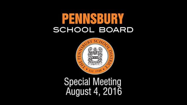 Pennsbury Schoo Board Meeting for August 4, 2016