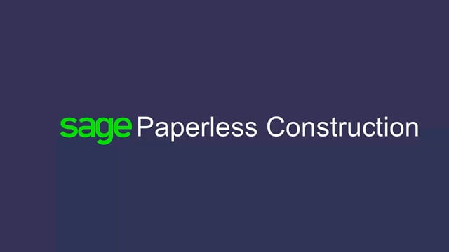 Sage Paperless Construction - Quick Video