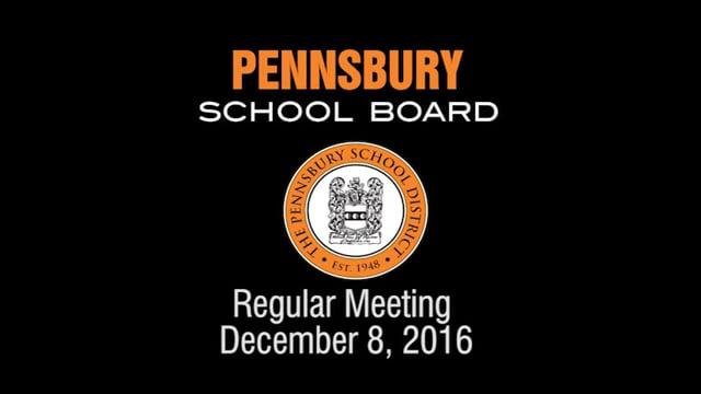 Pennsbury School Board Meeting for December 8, 2016