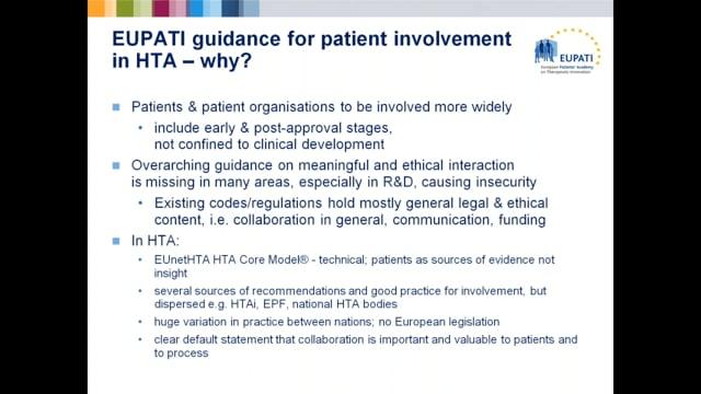 Guidance on Patient Involvement on HTA