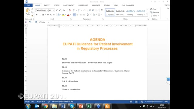 Guidance on Patient Involvement in Regulatory Processes