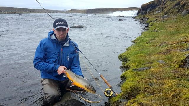 Fishing for arctic char in Kaldakvísl river in the Icelandic highlands