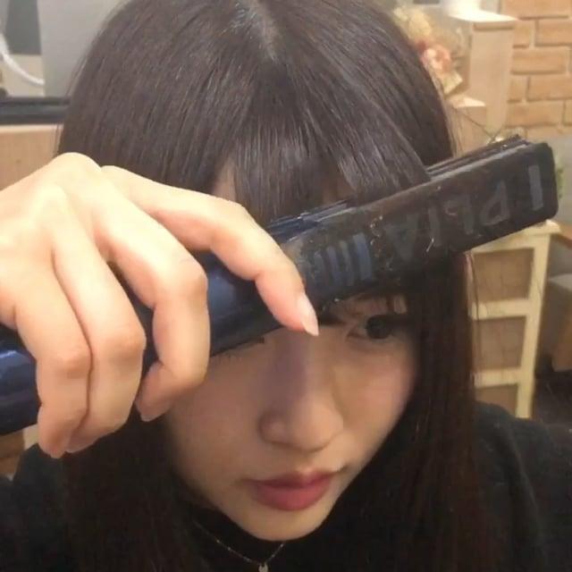 ストレートアイロンを使った可愛い前髪の巻き方♩