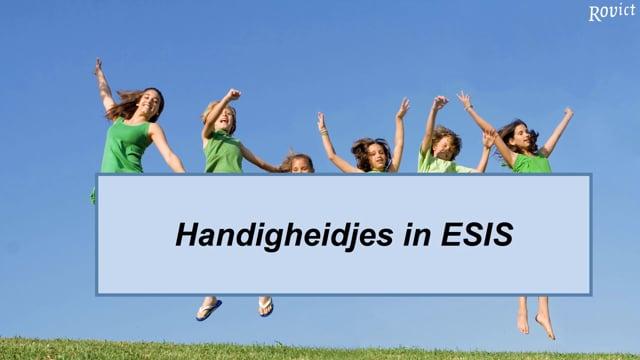 ESIS: Handigheidjes in ESIS