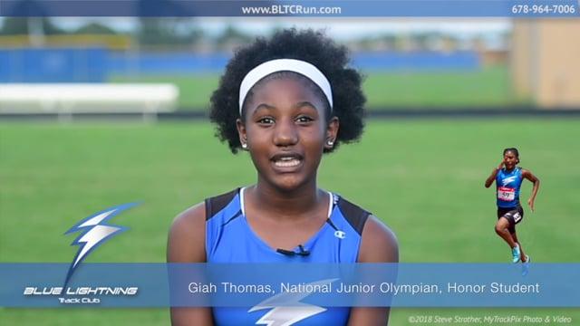 Giah Thomas, National Junior Olympian, Honor Student