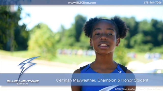 Cerrigan Mayweather, Champion and Honor Student - Blue Lightning Track Club