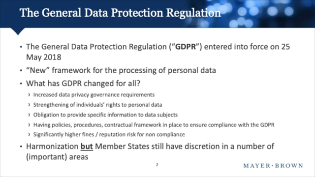 The impact of GDPR on clinical trials
