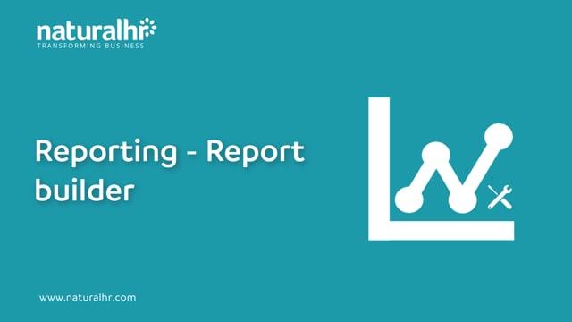 Reporting - Report builder