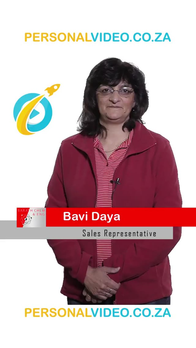 Bavi Daya, #SalesRepresentative of Barath Chemicals, Vertical Video #PersonalVideo.co.za (2019-08-01)