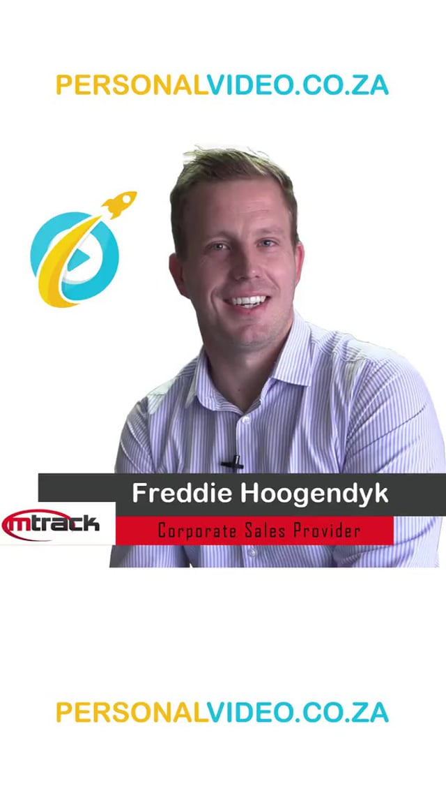 Freddie Hoogendyk, #CorporateSalesProvider of M Track, Vertical Video #PersonalVideo.co.za (2019-08-29)