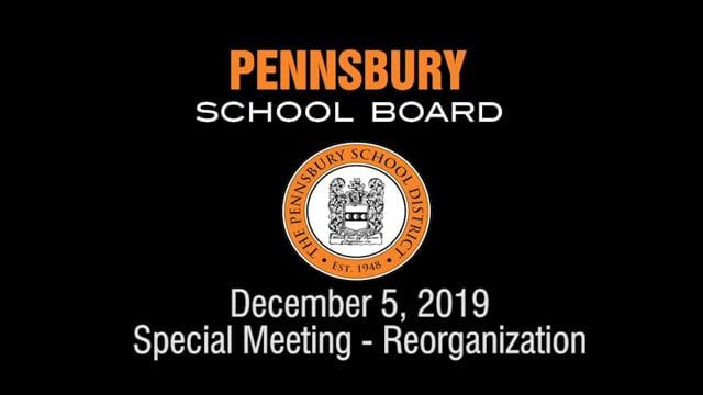 Pennsbury School Board Meeting for December 5, 2019 (Reorganization)