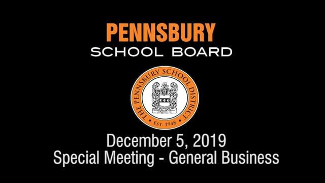 Pennsbury School Board Meeting for December 5, 2019 (General Business)
