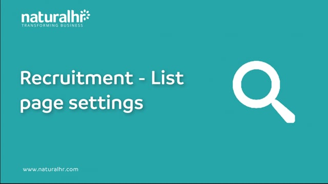 Recruitment - List page settings