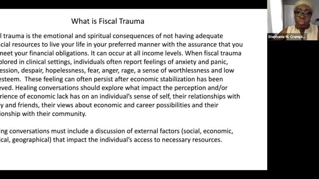Dealing with Financial Trauma - Trauma Symposium (5-7-20)