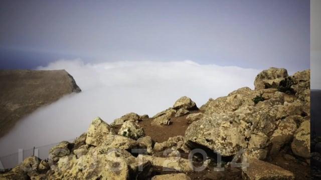 Der Pico de la Zarza in den Wolken