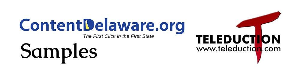 ContentDelaware.org Samples