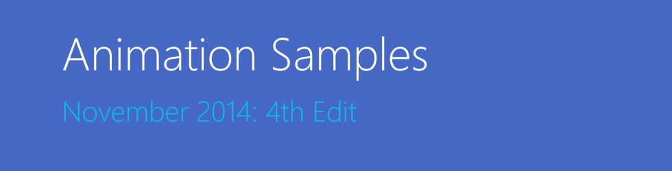 Animation Samples November 2014: 4th Edit