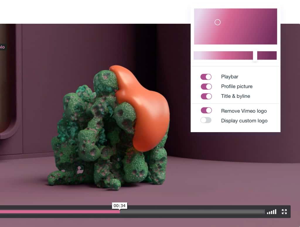 Customizable Vimeo video player